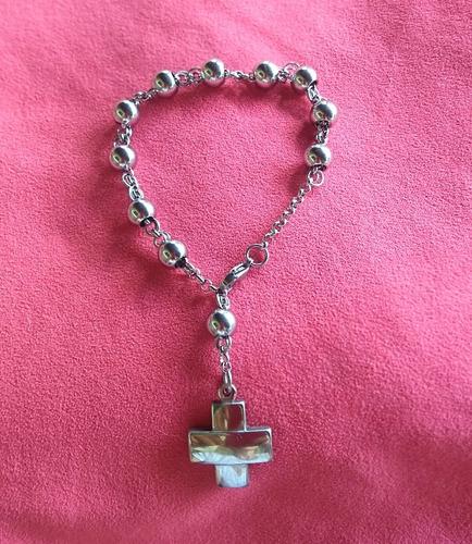 decenario/pulsera para comunión en acero y piedra