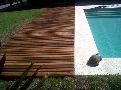 deck eucalipto colocado en módulos