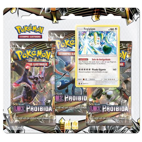 deck pokémon triple pack - sol e lua - luz proibida - regigi