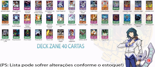 deck zane cyber dragon  completo 40 cartas anime card