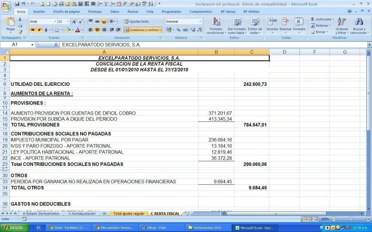 Declaración De Impuesto Sobre La Renta P. Juridicas Excel - Bs. 0,02 ...