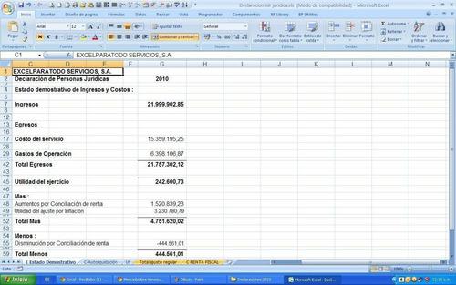 declaración de impuesto sobre la renta p. naturales excel