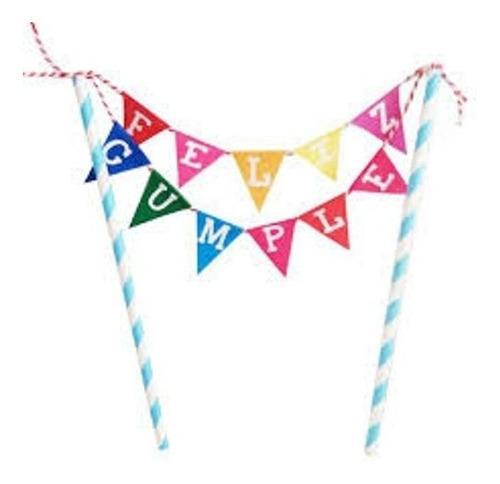 deco torta mini guirnalda feliz cumple - jupiter party