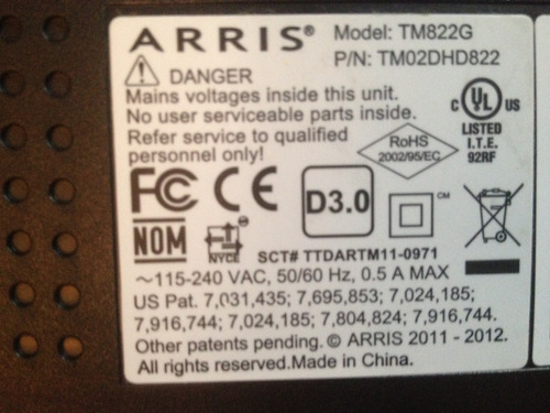 decodificador arris tm822g intercable