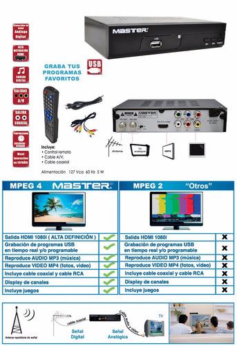 decodificador digital tv apagon analogico master mv-tdtplus