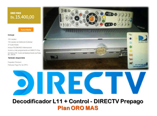 decodificador directv prepago plan oro mas + control
