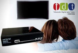 decodificador receptor tv digital tdt krono, antena y cable