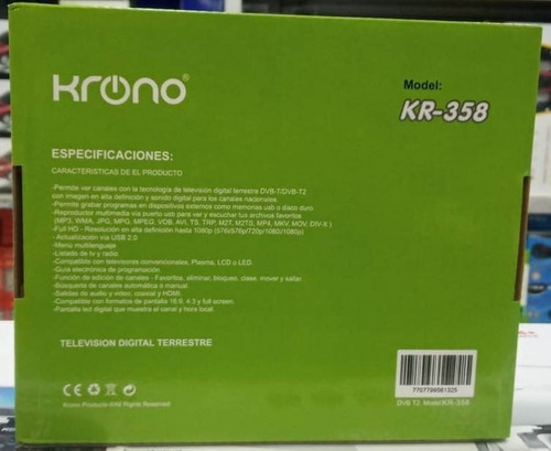 decodificador tdt receptor tv digital hd krono control hdmi