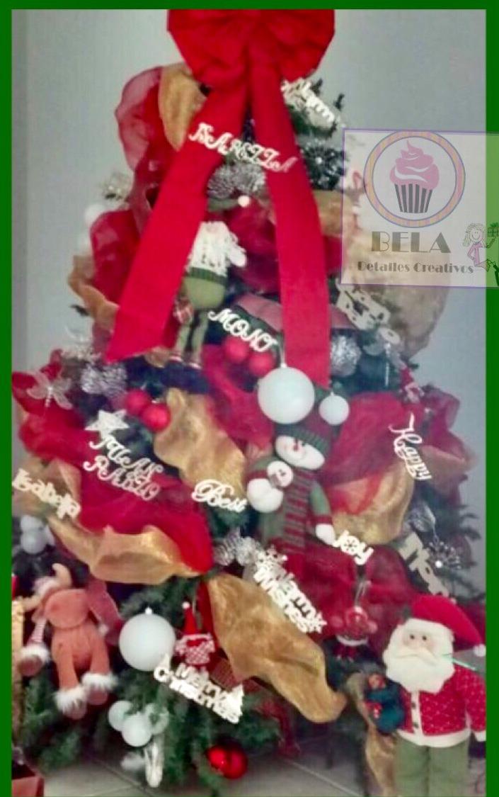 Decoracion arbol de navidad con nombres
