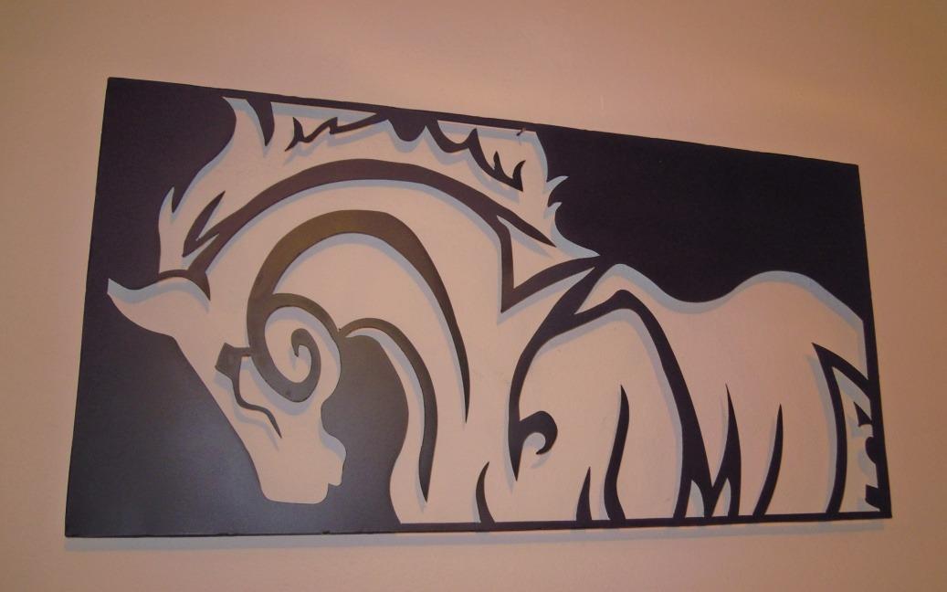 Decoracion caballo de metal numero acero corte for Decoracion en metal para pared
