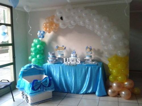 Decoracion con globos baby shower varon