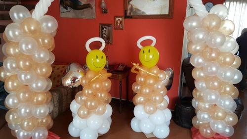 decoracion con globos, bautizo, cumpleaños, globos con helio