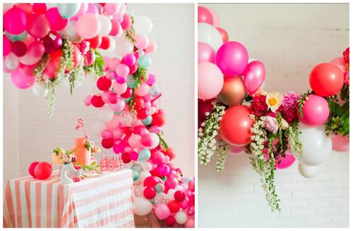 decoracion con globos flores palet pizarra letras vintage