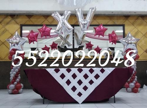 decoracion con globos para xv años boda bautizo salón telas