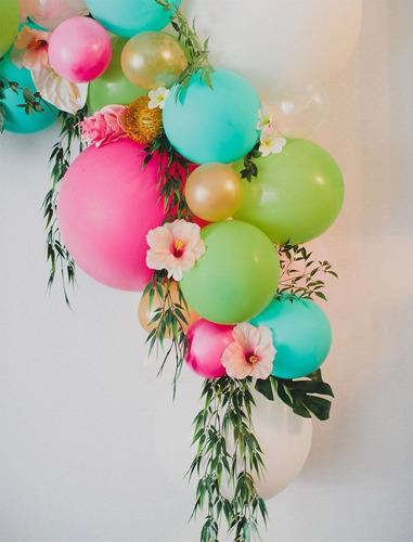 decoracion con globos tela columna arco arreglo profesional