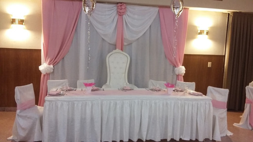 decoración con telas, globos.alquiler de vajillas.promos
