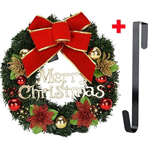 Eer Christmas Wreath 16 Inch Holiday Outdoor Party Decoration Bowknot Decorative Battery