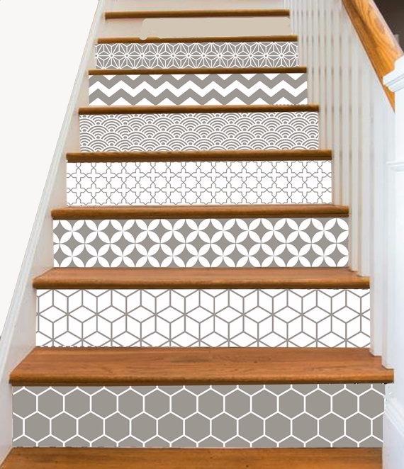 Decoraci n de escalera adhesivo vinilo personalizable - Vinilos para escaleras ...