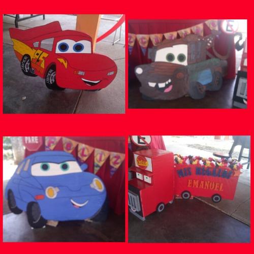 decoracion de fiesta de cars.figuras en anime o mdf