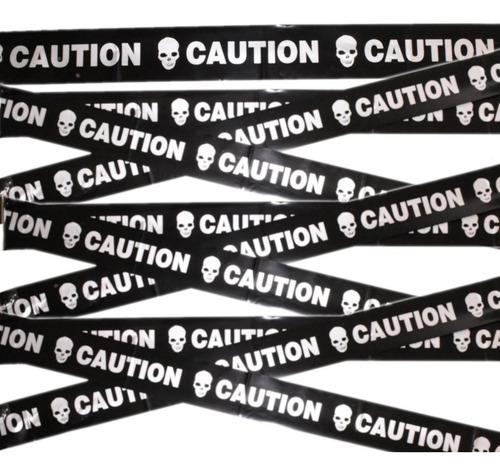 decoracion de halloween cinta de precaución caution negro/plata