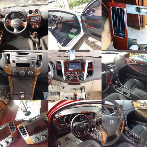 decoración de interiores de vehículos en madera y carbon fib