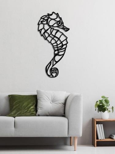 decoración de pared caballo de mar- 65x35cm- madera tratada