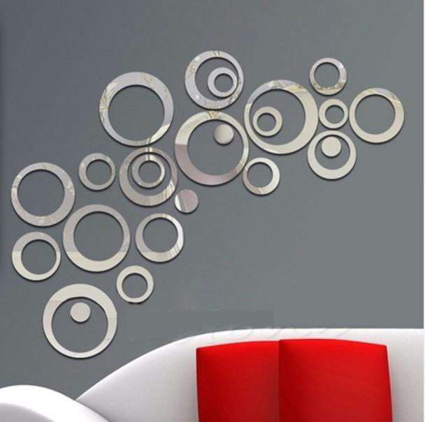 Decoracion de pared figuras circulares acrilico tipo for Espejos circulares pared