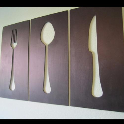decoracion en metal cubiertos restaurant comida
