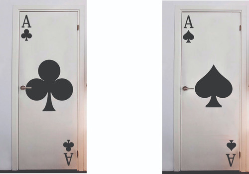 decoracion en vinilo naipes de poker pared puerta vidrio