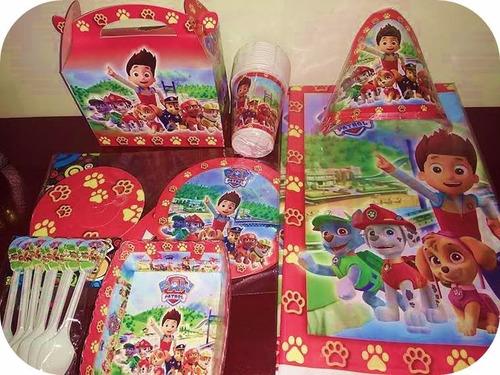 decoración fiesta infantil -patrulla canina   azul o roja