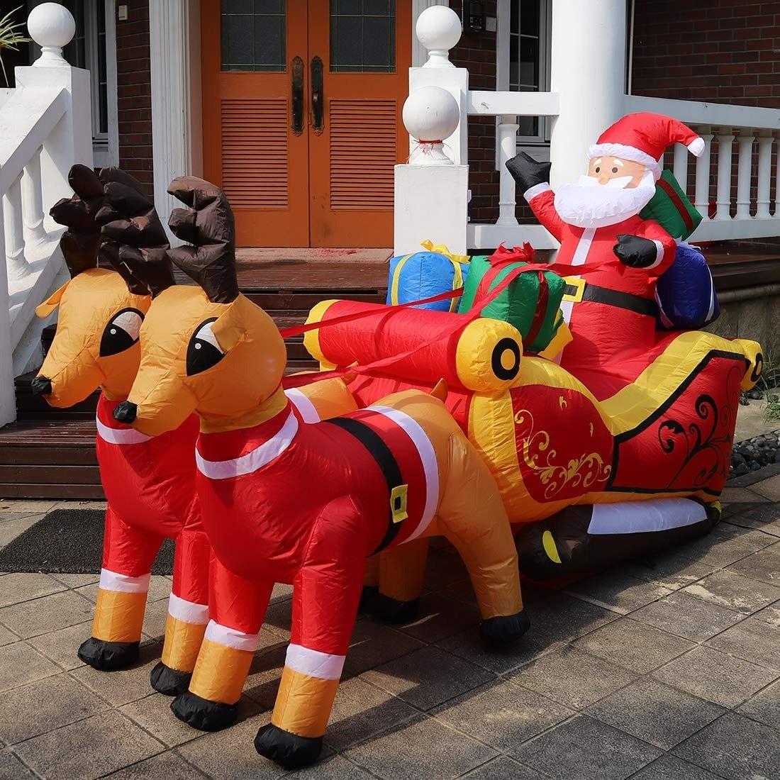a75c2033280 Decoración fiesta navidad inflable luz led trineo santa reno cargando zoom  jpg 1100x1100 Luces led trineo