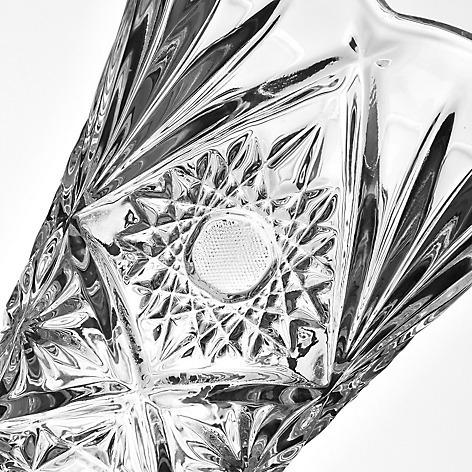 decoración florero vidrio  tallado rombos 30 cm