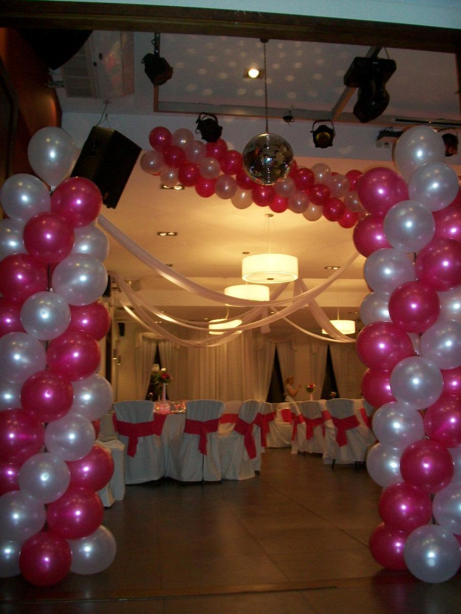 Decoracion globos arcos guirnaldas helio columnas entradas - Decoracion columnas salon ...