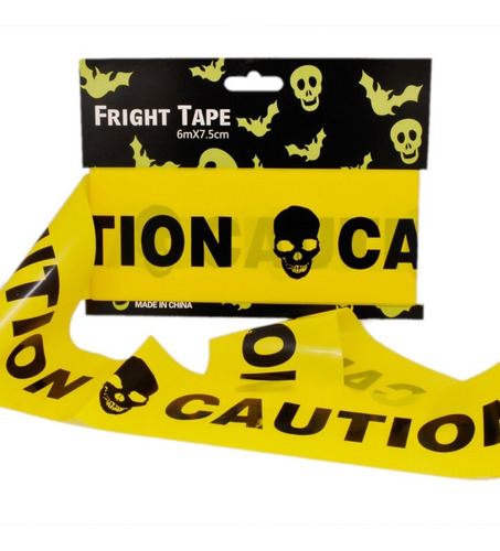 decoracion halloween cinta de precaución caution amarillo/negro