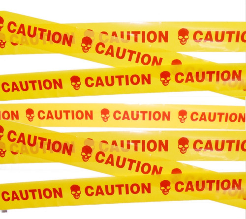 decoracion halloween cinta de precaución caution amarillo/roja
