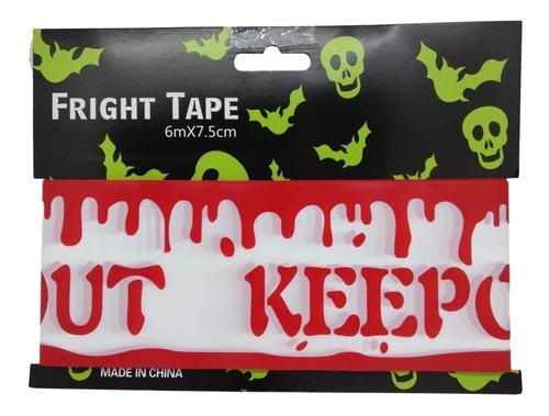 decoracion halloween cinta de precaución sangre keep out