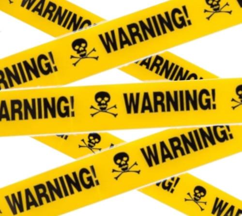 decoracion halloween cinta de precaución warning amarillo/negro