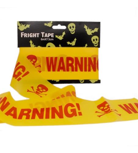 decoracion halloween cinta de precaución warning amarillo/rojo
