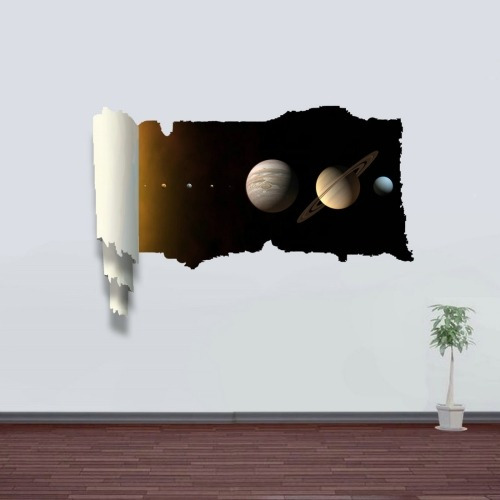 decoracion hogar pegatina pared arte 3d soñadora planeta