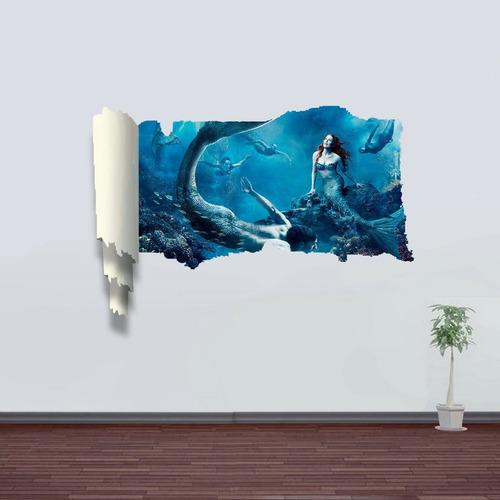 decoracion hogar pegatina pared arte 3d soñadora sirena
