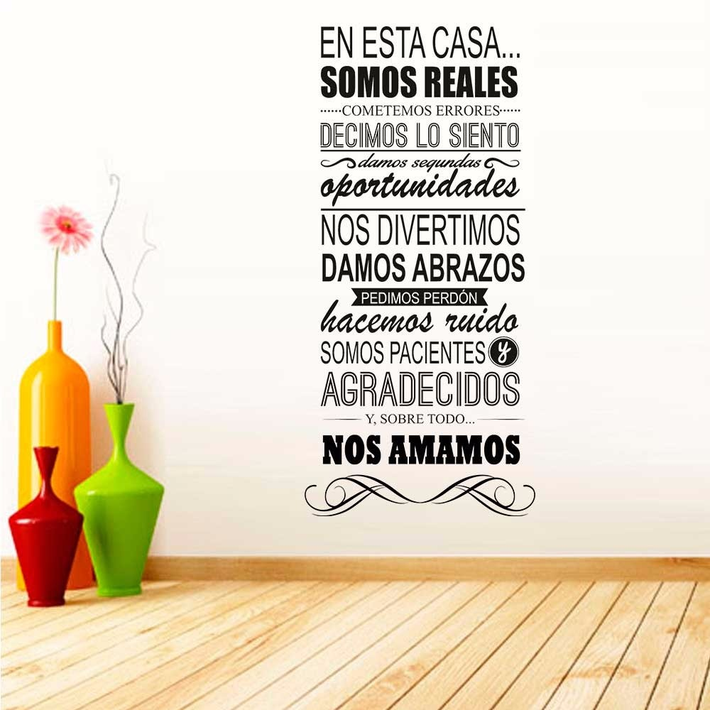 Decoracion para pared frase hogar vinilo autoadhesivo for Pegatinas frases pared