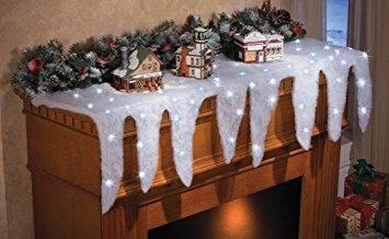 decoración iluminado nieve carámbano de vacaciones mantel b