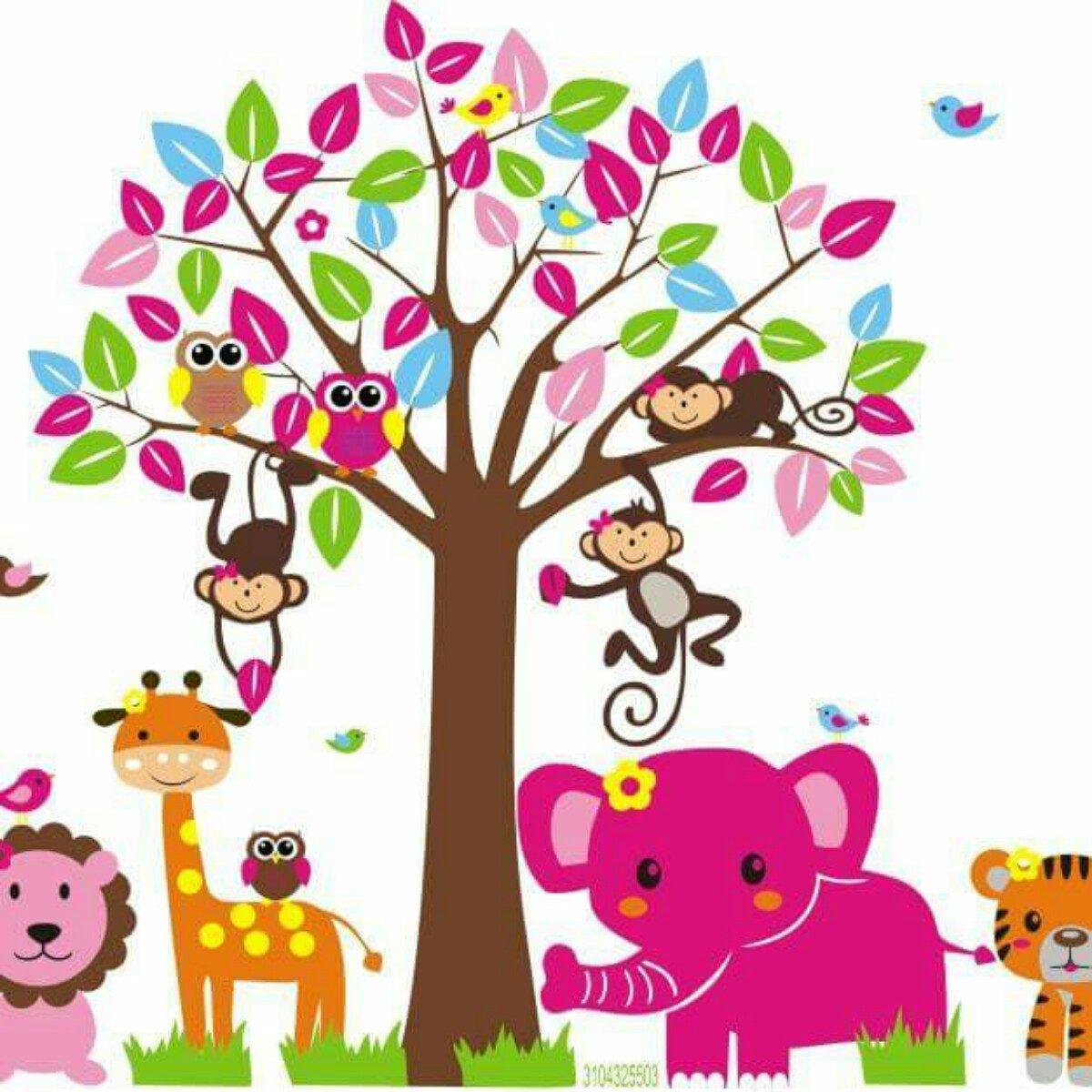Decoraci n infantil safari ni a bebe vinilos adhesivos for Decoracion infantil nina