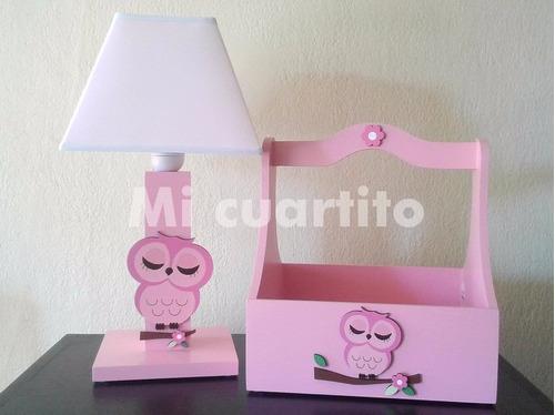 decoración infantil - set caja para productos y lampara