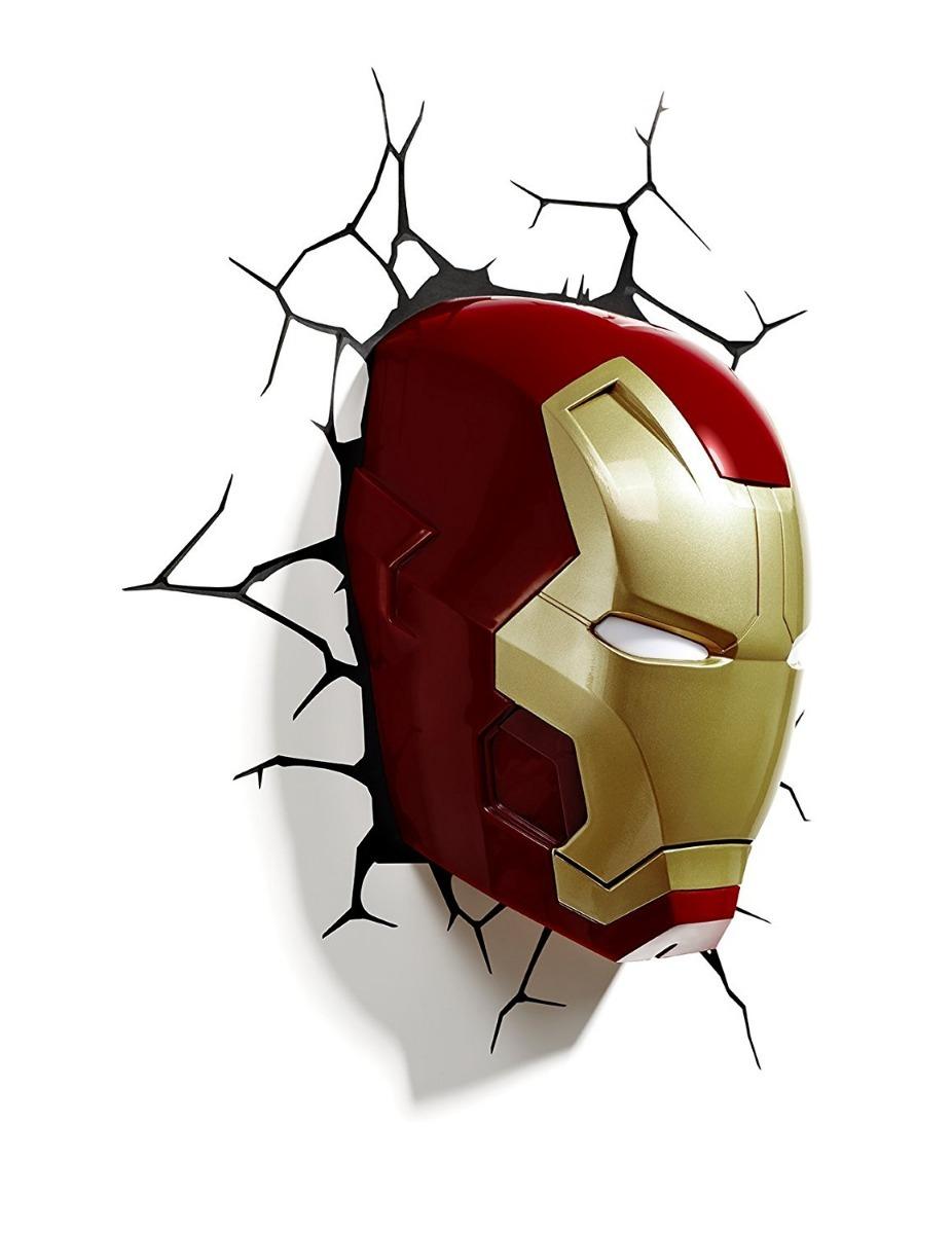 Iron Man 3 cabeza 3D Deco de pared de luz