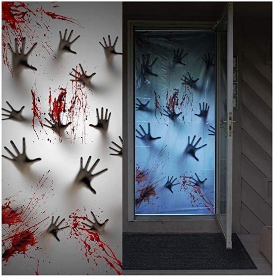 Decoracion Lona Manos Zombie Para Puerta Halloween 72x30 Pul