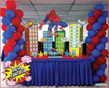 decoración mesas de fantasia avengers spiderman  otros...