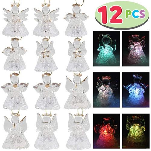 decoracion navidad 12pz ángel de vidrio luz led marca joyin