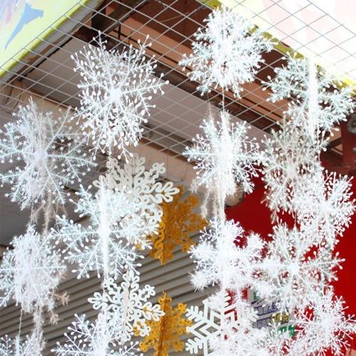 Decoracion Navidad Copo Nieve 3d Plastico Conjunto Serie