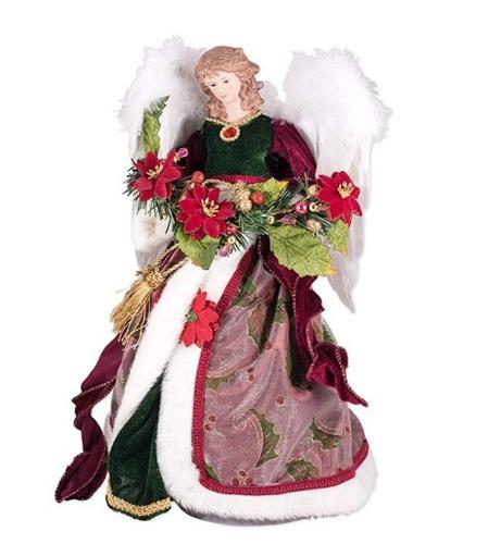 decoracion navidad fiesta angel rojo para punta de arbol 01